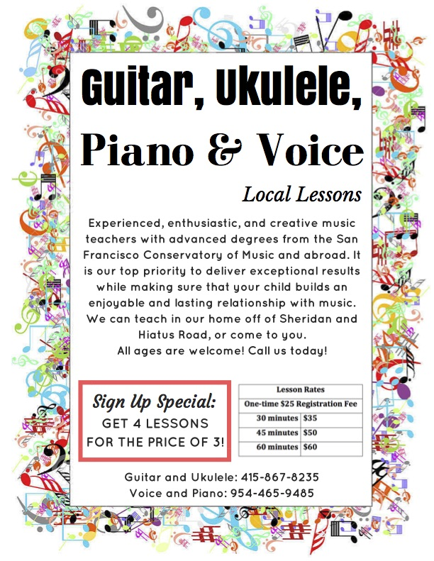 Ukulele, Guitar, Voice and Piano Lessons!